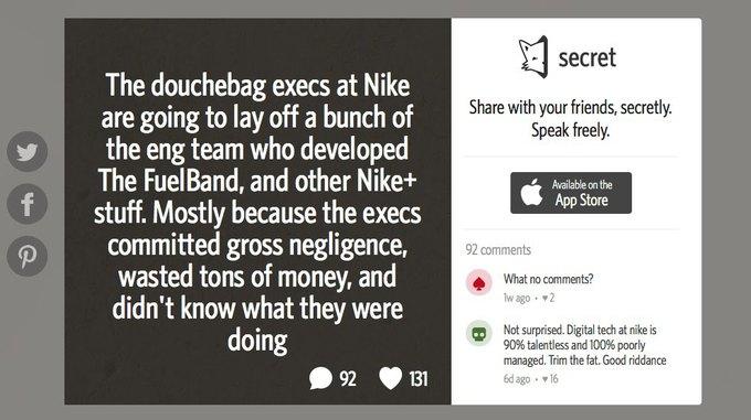 Сообщение о будущих увольнениях в команде Nike+ FuelBand на сервисе Secret. Изображение № 1.