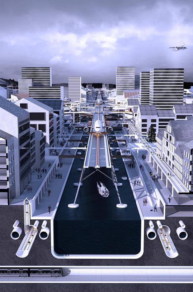 Студент предложил концепт надземного аэропорта в городе. Изображение № 8.