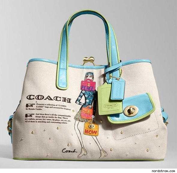 Сумки Bonnie Jeweled Canvas Carryall by Coach. Изображение №3.