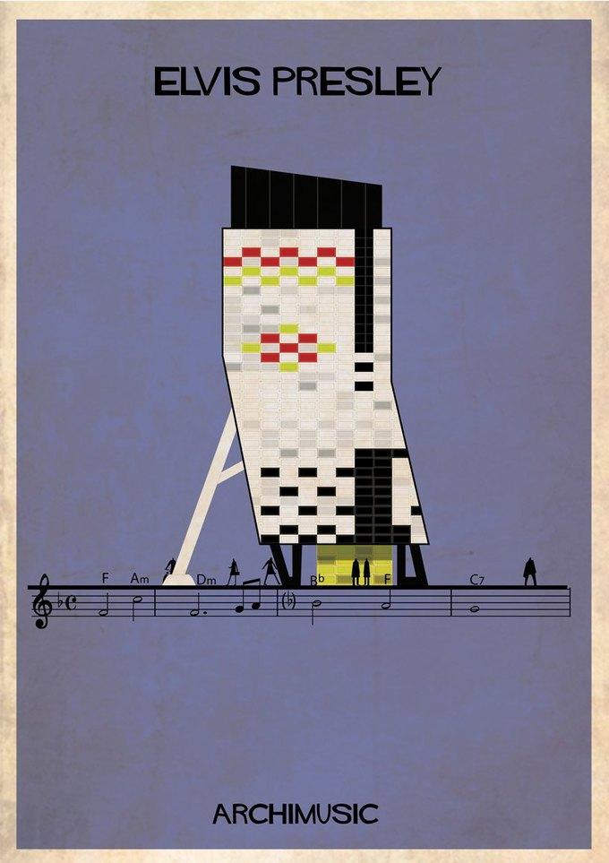 Испанский архитектор превратила песни в здания для новой серии плакатов . Изображение № 25.