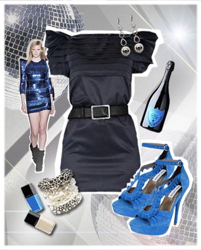 Look blue Эффектный вечер невозможен без красивого платья и туфель на высоком каблуке. Горизонтальные складки платья, плавно переходящие в рукава, созвучны складкам лодочек. Суперкороткая длина платья в сочетании с высокими каблуками делает ноги не просто длинными, а очень длинными. На случай, если вечер плавно перетекает в ночь, в арсенале «идеальной пары» есть несколько выигрышных штрихов. Натуральная ткань (шелк+хлопок) платья позволит телу свободно дышать даже при самых жарких танцах, а комфортные туфли - уверенно стоять на ногах.. Изображение № 2.