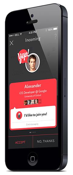 Приложение Yep!: Как найти друзей на час. Изображение № 7.