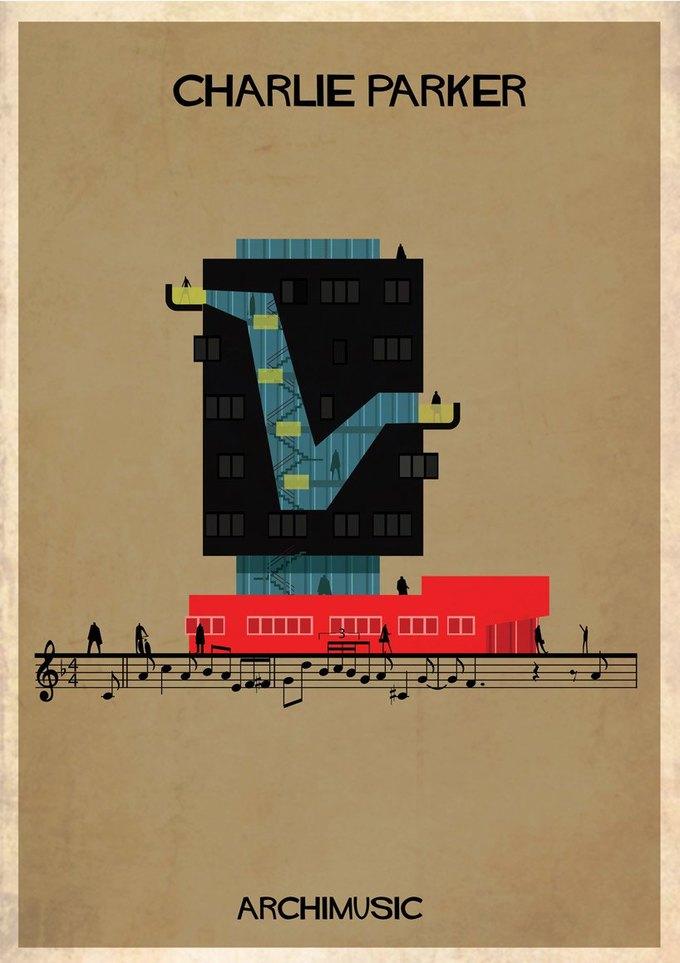 Испанский архитектор превратила песни в здания для новой серии плакатов . Изображение № 16.