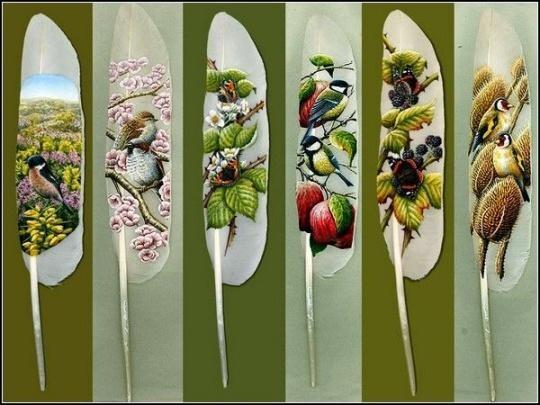 Рисунки на перьях от Ян Дави. Изображение № 6.