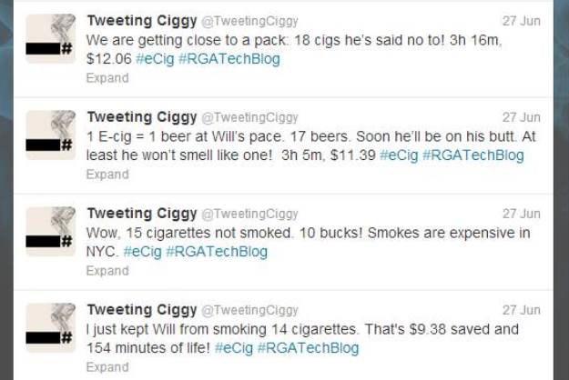Сигарета пишет в «Твиттер», тем самым помогая бросить курить. Изображение № 3.
