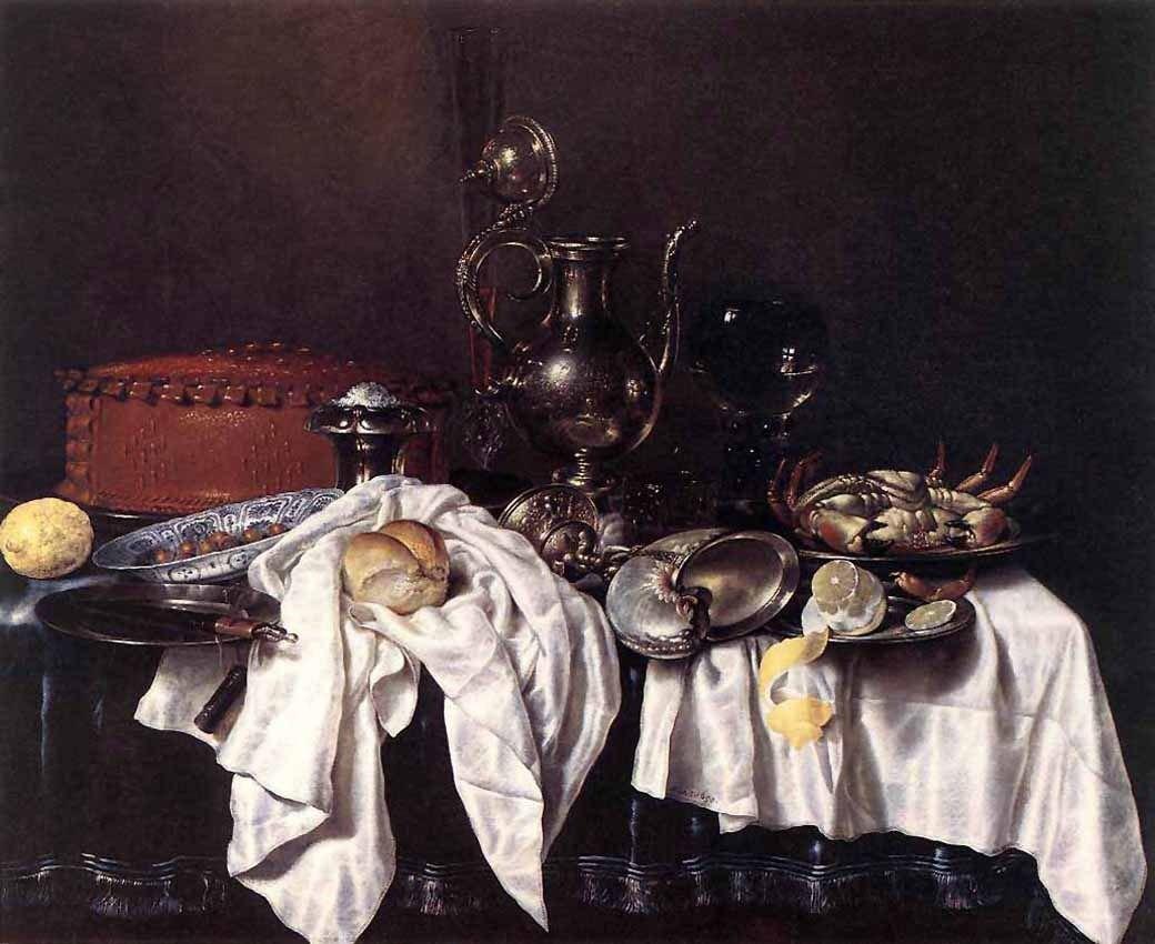 Натюрморт с хлебом и серебряным кувшином, Виллем Хеда, 1658. Изображение № 2.