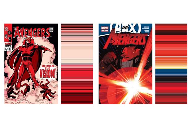 Инфографика показала палитру вкомиксах о Мстителях за 52 года . Изображение № 5.