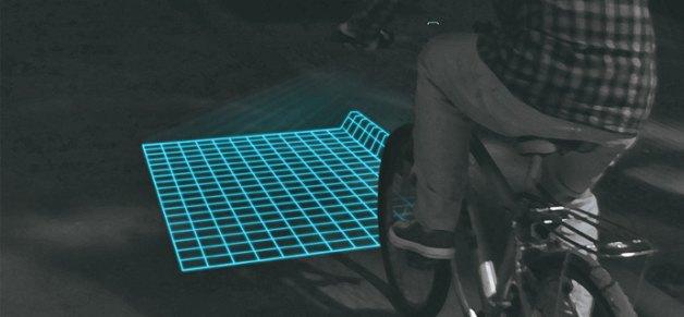 Велосипедная подсветка проецирует на дорогу сетку. Изображение № 1.