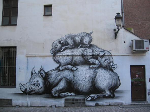 Животный стрит-арт от бельгийского граффитчика ROA. Изображение № 39.