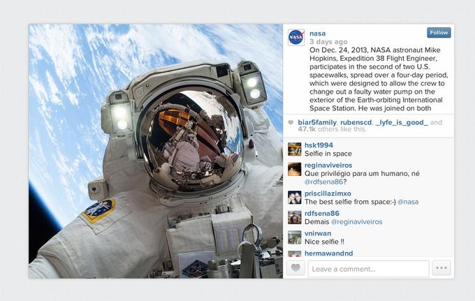 Бортинженер NASA сделал «селфи» в открытом космосе в канун Рождества. Изображение № 1.