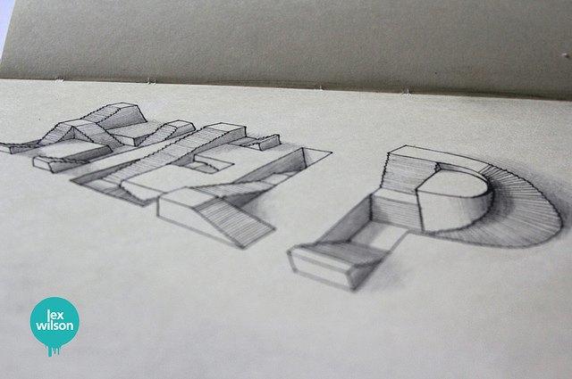 Иллюстратор рисует трёхмерные шрифты . Изображение № 8.