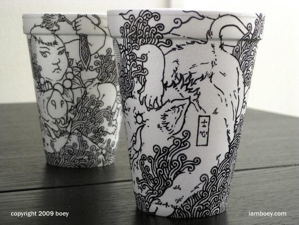 Рисунки маркером накофейных стаканчиках. Изображение № 3.