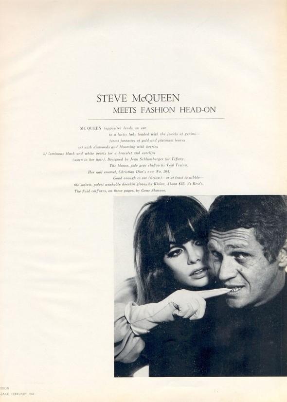 Архивная съёмка: Джин Шримптон и Стив Маккуин для Harper's Bazaar. Изображение № 2.