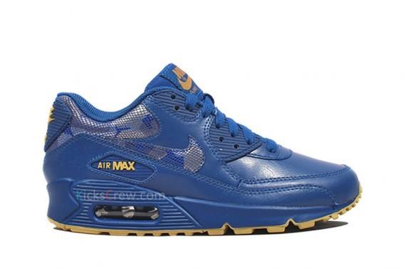 Nike WMNS Air Max 90 – Stormblue – Jersey Gold. Изображение № 3.
