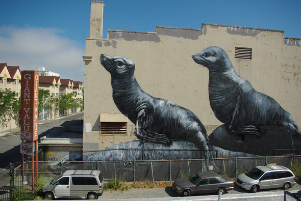Животный стрит-арт от бельгийского граффитчика ROA. Изображение № 36.