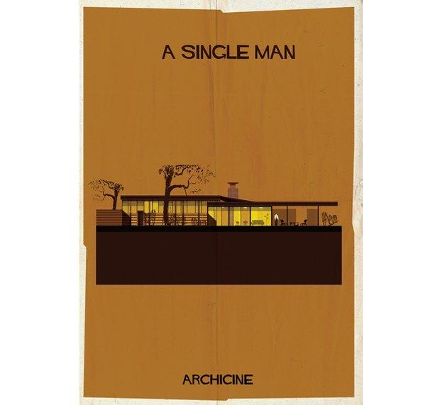 Художник нарисовал архитектурные постеры классических фильмов. Изображение № 9.