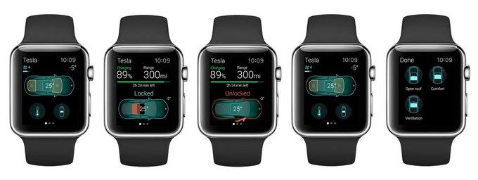 Концепт: приложение для управления Tesla c Apple Watch . Изображение № 1.