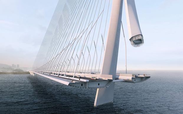 Бюро Захи Хадид создало вантовый мост c одной мачтой. Изображение № 4.