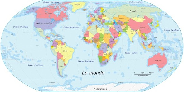 Карта мира с точки зрения Америки, Австралии, ЮАР и Франции. Изображение №1.