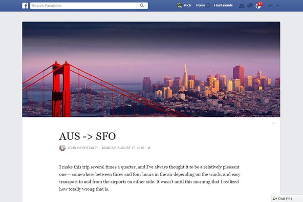 Facebook обновит вид заметок встиле Medium. Изображение № 1.