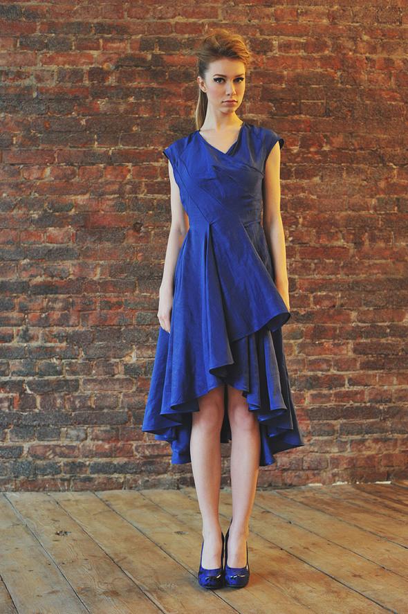CW82 платье синие, состав:50% шелк, 50% хлопок размеры: s, м. Изображение № 23.