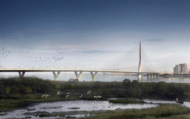 Бюро Захи Хадид создало вантовый мост c одной мачтой. Изображение № 8.