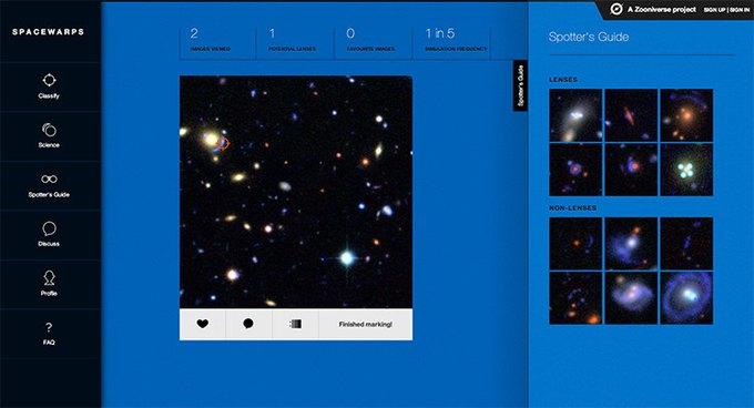 Сайт Spacewarps.org позволяет любому желающему стать астрофизиком . Изображение № 1.