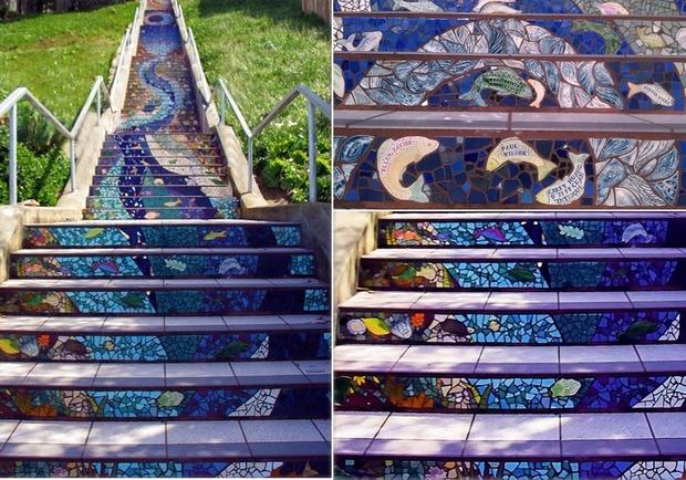 Разноцветная мозаика на лестнице в Сан-Франциско. . Изображение № 5.