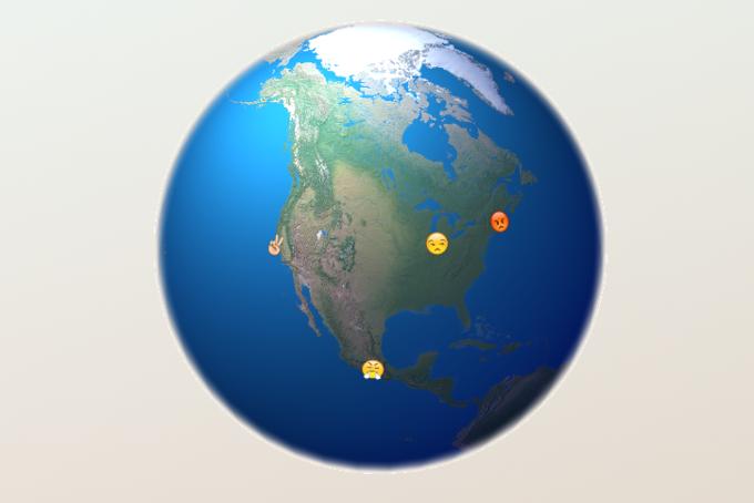 Разработчик создал интерактивную карту с трансляцией Emoji из Twitter . Изображение № 5.