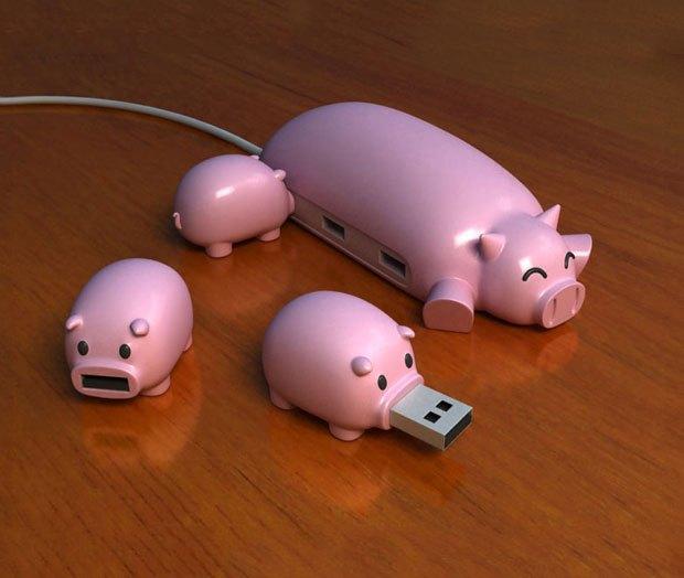 Пошлый пример зооморфизма, по мнению Мусиенко: USB-хаб в виде свиноматки и поросят. Изображение № 14.
