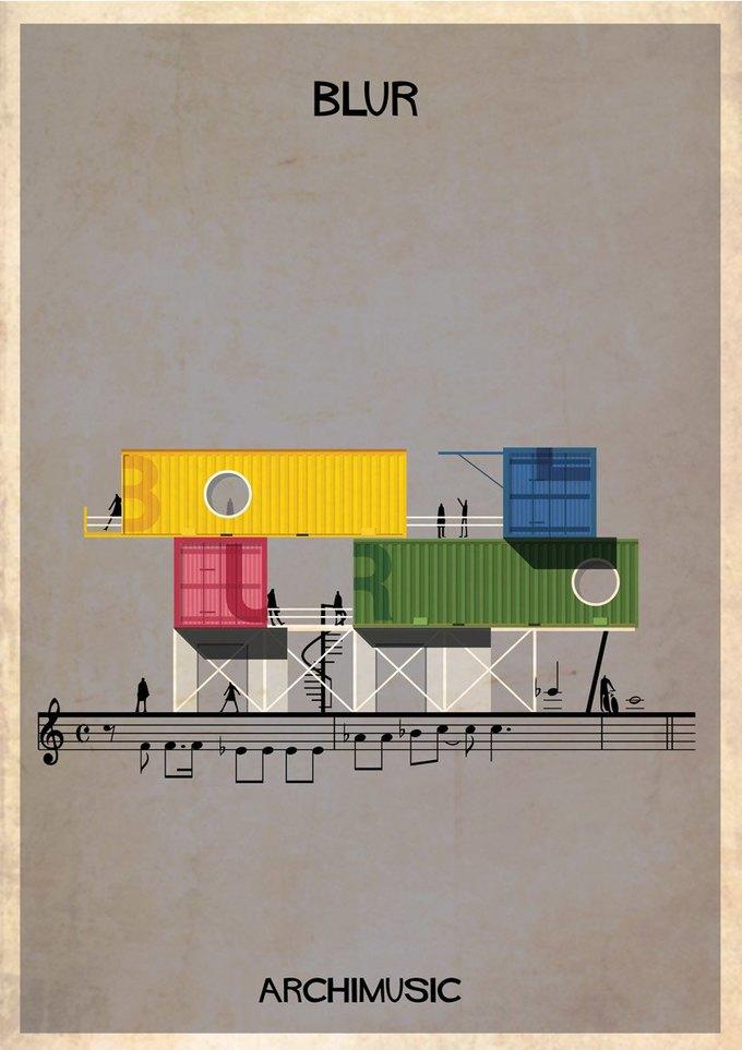 Испанский архитектор превратила песни в здания для новой серии плакатов . Изображение № 14.