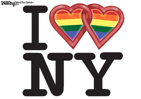 Нью ЛГБТ-Йорк: художники-карикатуристы о легализации однополых браков. Изображение № 1.