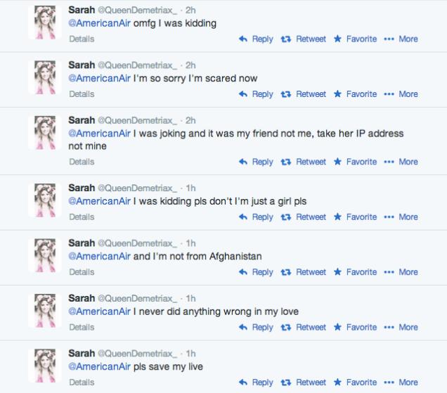 Пользователи Twitter угрожали American Airlines из-за ареста 14-летней девочки. Изображение № 2.
