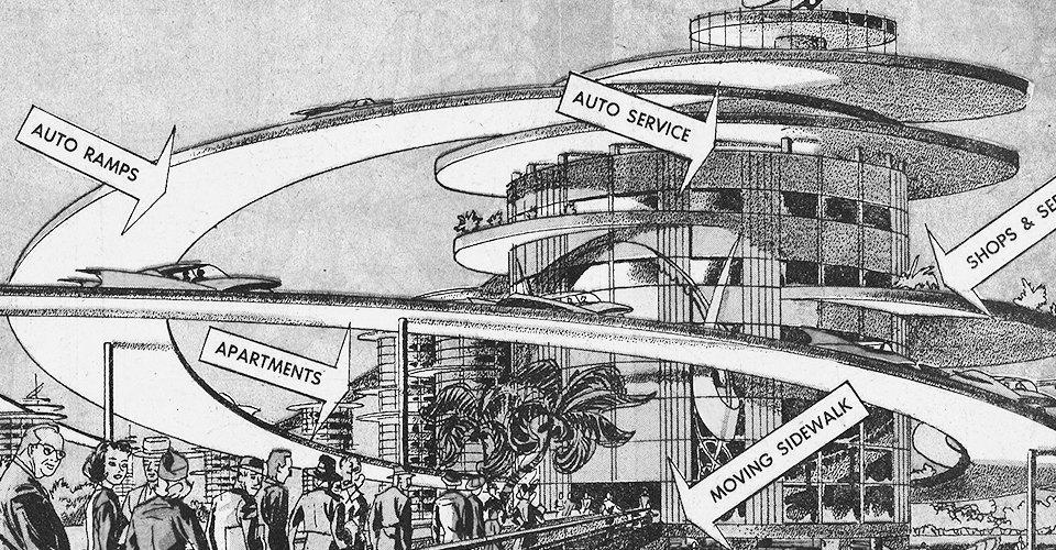 Как в XX веке представляли себе города будущего. Изображение № 8.