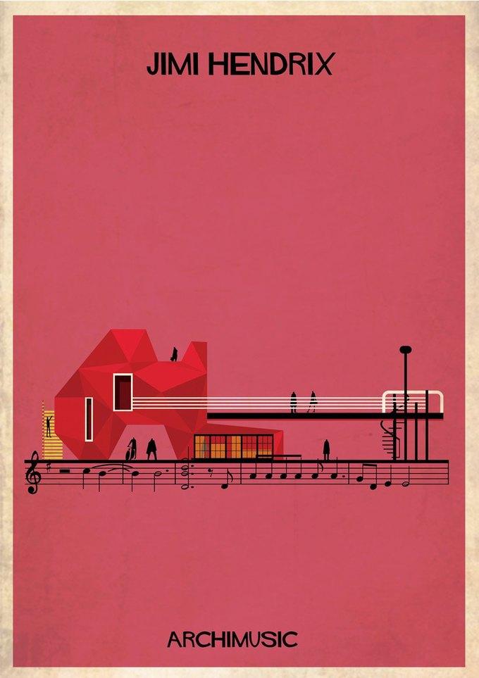 Испанский архитектор превратила песни в здания для новой серии плакатов . Изображение № 19.