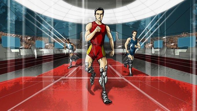 Бег спортсменов с протезами ног. Изображение № 1.
