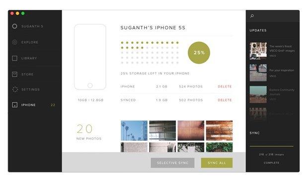 Дизайнер создал концепт приложения VSCO Cam для OS X. Изображение № 3.