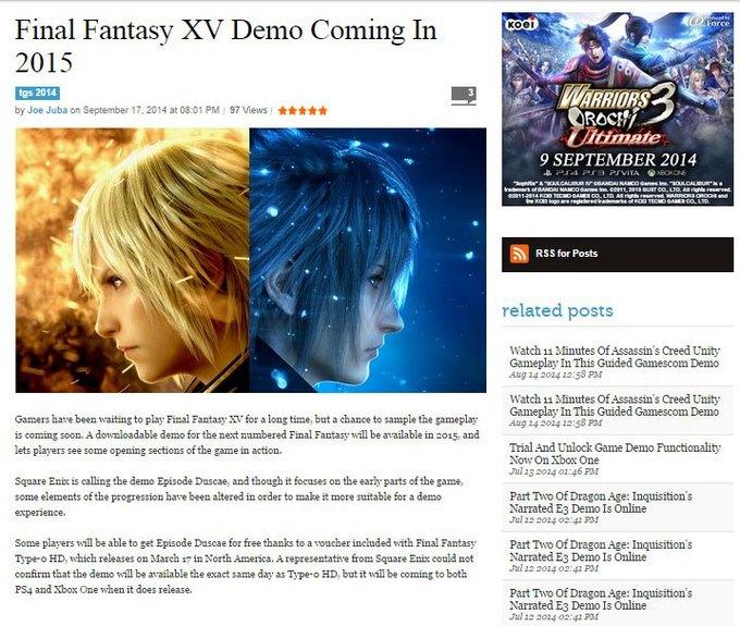 Скриншот исходного поста на Game Informer. Изображение № 1.