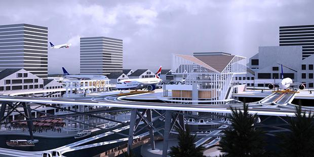 Студент предложил концепт надземного аэропорта в городе. Изображение № 1.