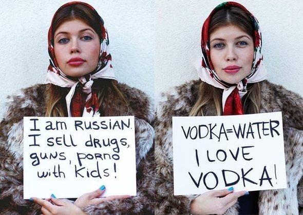 наиболее распространившаясь по сети интернета фото работа о стереотипах о русских людях . Изображение № 1.