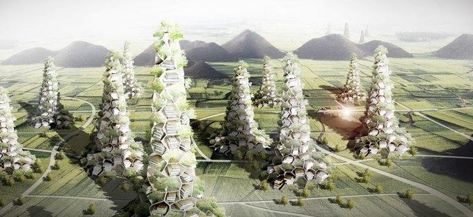 Китайский архитектор представил концепцию небоскрёба-деревни. Изображение № 1.