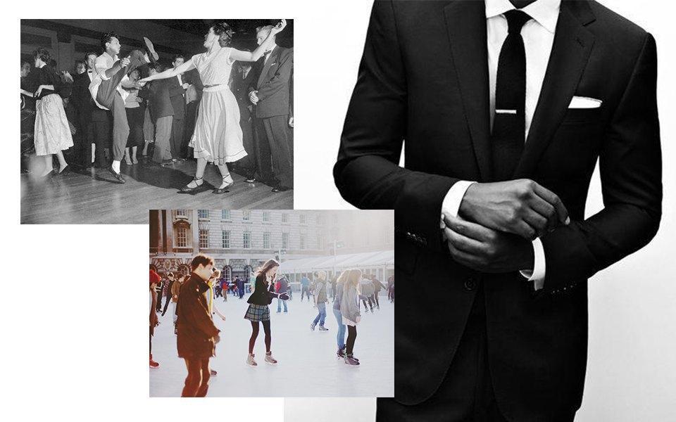 Танцевальные фильмы 1950-х, катание на коньках, классический мужской костюм. Изображение № 8.