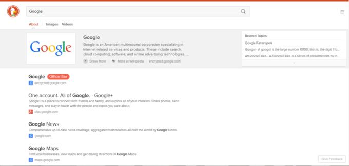 Страница поисковой выдачи DuckDuckGo после редизайна. Изображение № 4.