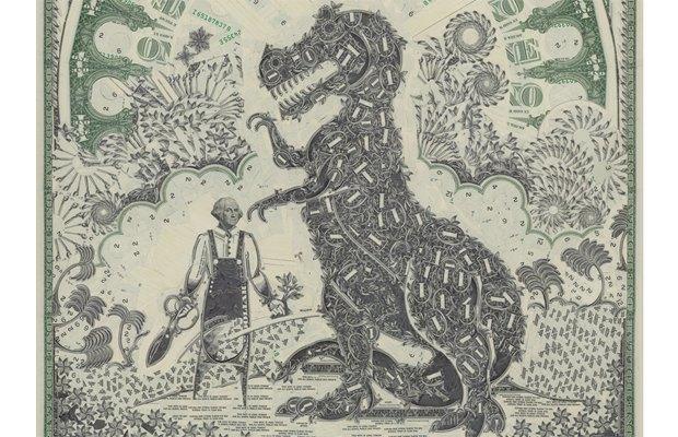 Художник создаёт коллажи из долларов. Изображение № 8.