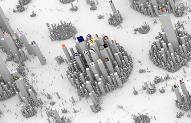 Интерактивная инфографика показала соцсети в виде городов. Изображение № 2.