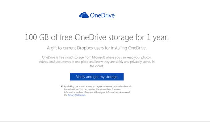 Пользователи Dropbox могут получить 100 ГБ в OneDrive. Изображение № 1.