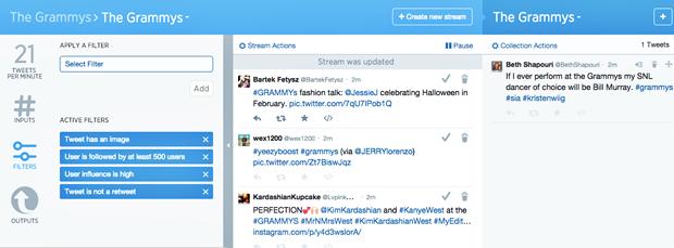 Экран с настройкой фильтров и отбором твитов. Изображение № 3.