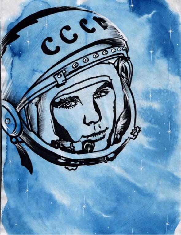 «Поехали!» Подборка ретро-плакатов с Юрием Гагариным. Изображение № 26.