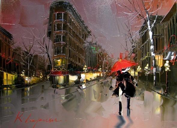 Красные зонтики художника Kal Gajoum. Изображение № 6.