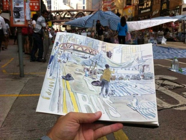 Художник представил скетчи о протестах в Гонконге. Изображение № 1.